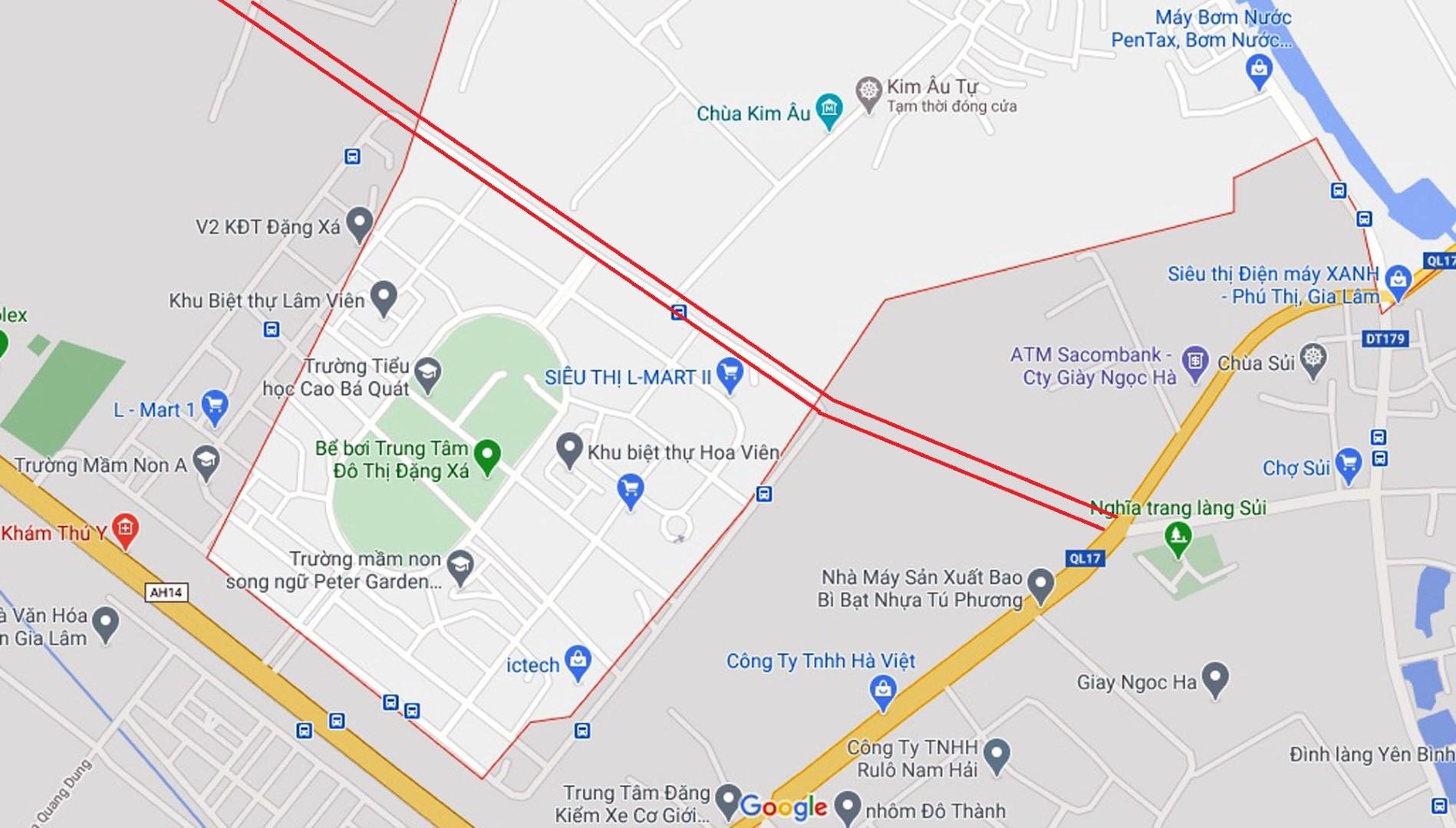 Sơ đồ tuyến đường từ QL1A qua KĐT Đặng Xá đến QL17. (Nguồn ảnh: Google).