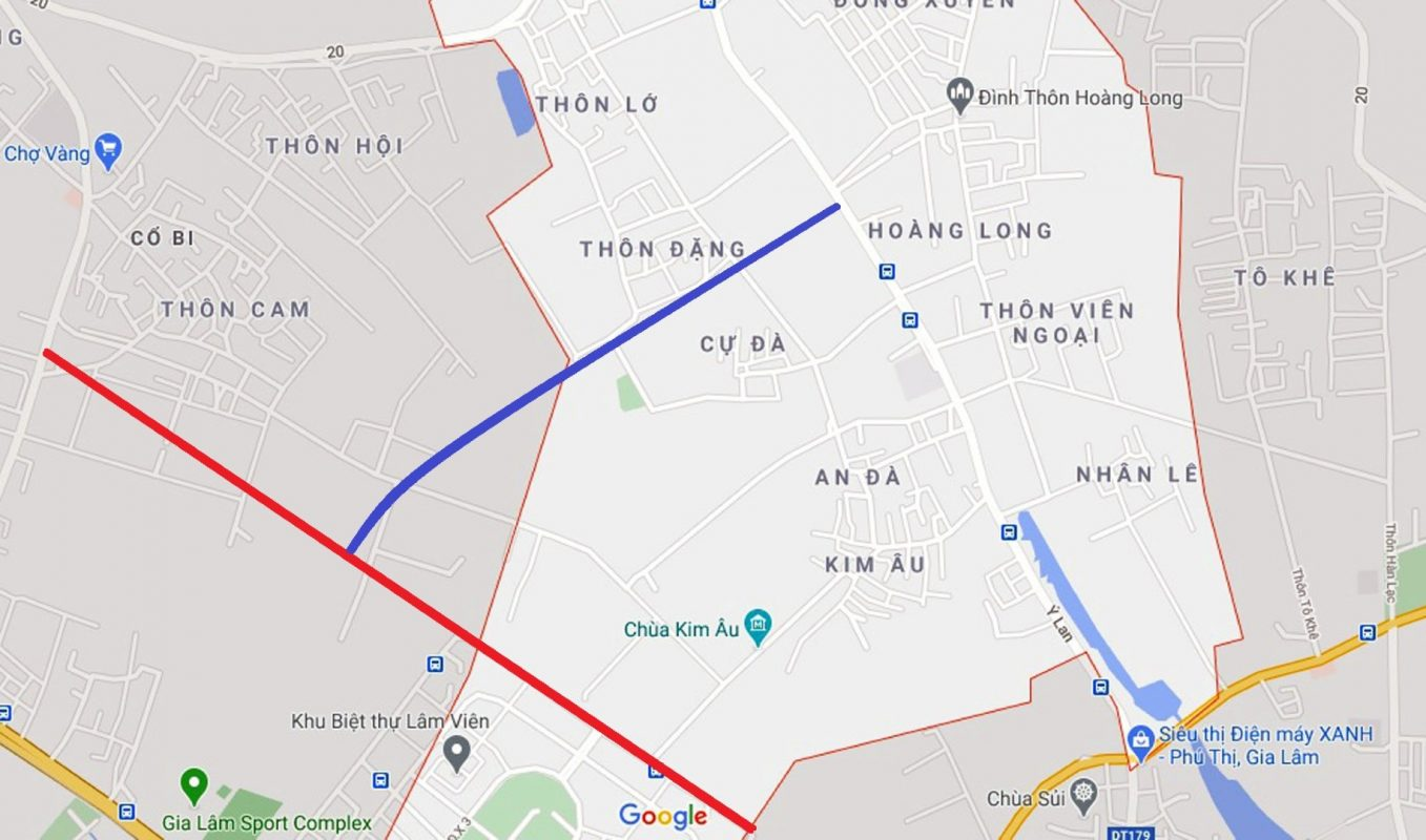 Sơ đồ tuyến nối đường mục 1 với Ỷ Lan (màu xanh). (Nguồn ảnh: Google).
